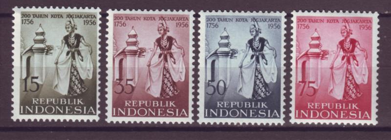 J21028 Jlstamps 1956 indonesia set mh #432-5 dancing girl