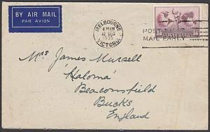 AUSTRALIA 1935 1/6d Hermes on airmail cover Melbourne to UK................55141