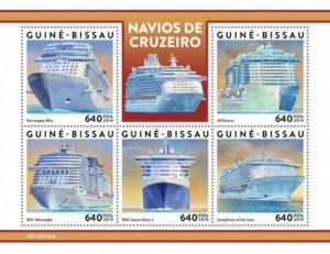 Guinea-Bissau - 2019 Cruise Ships on Stamps - 5 Stamp Sheet - GB190406a