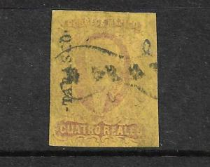 MEXICO  1861  4r  ROSE/YELLOW  FU  IMPERF  Sc 10