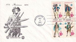 1975,  Minuteman, Block/4, Unknown Artist, FDC (E12282)