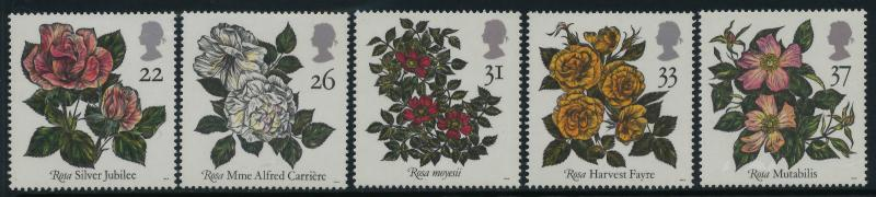 Great Britain 1382-6 MNH Flowers, Roses