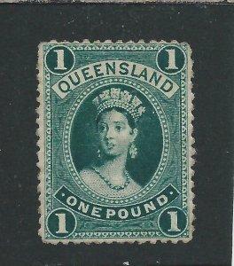 QUEENSLAND 1882-95 £1 DEEP GREEN (THICK PAPER) MM SG 161 CAT £325