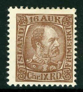 Iceland 1902 Christian IX 16a Chocolate Perf 13 Scott # 39 Mint C690