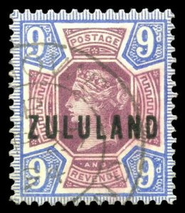Zululand 1900 QV 9d dull purple & blue very fine used. SG 9. Sc 9.