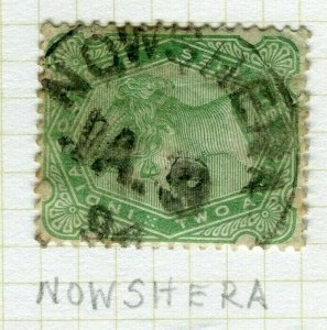 INDIA; POSTMARK fine used cancel on QV issue, Nowshera