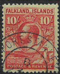 FALKLAND ISLANDS SG125 1929 10/= CARMINE ON EMERALD USED