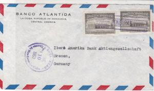 Honduras 1953 Banco Atlantida La Ceiba Airmail to Germany Stamps Cover Ref 25381