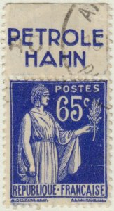 FRANCE - 1937 Pub PETROLE HAHN sur Yv.365b 65c Paix obl. TB