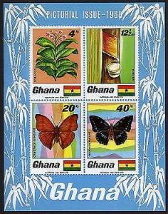 HERRICKSTAMP GHANA Sc.# 335A Butterflies Imperf S/S