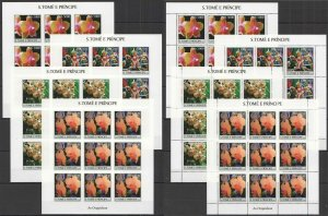 L0915 IMPERF,PERF 2004 S.TOME & PRINCIPE ORCHIDS FLOWERS FLORA 18SET MNH