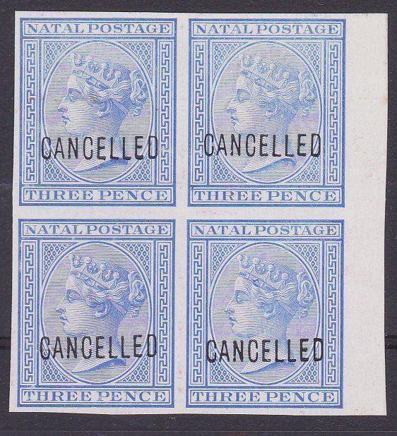 NATAL 1874-99 3d proof block of 4 on glazed paper optd CANCELLED..........67603