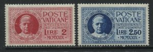 Vatican 1929 Special Deliveries 2 and 2.50 lire mint hinged