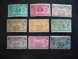Stamps - Cuba - Scott# 284-285,287-293 - Mint Hinged Partial Set of 9 Stamps