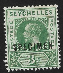 Seychelles Specimen 3c Mint OG H - Guaranteed Genuine