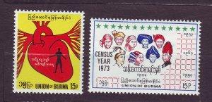 J23718 JLstamps 1972 & 3 burma sets of 1 mh #231-2 designs