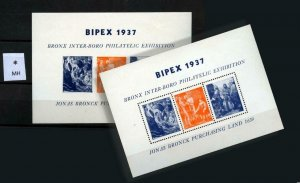 90500 BIPEX 1937-BRONX INTER-BORO PHILA EXHIBIT - PERF & IMPERF 2x CINDERELLAS