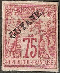 French Guiana 16 Y&T 14 MH F/VF 1892 SCV $180.00