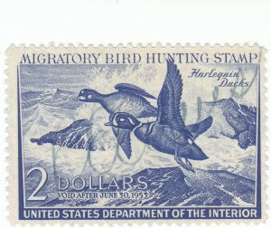 Scott #RW19 - $2 Deep Ultramarine -1952-Federal Duck Stamp -Used- SCV - $12.00