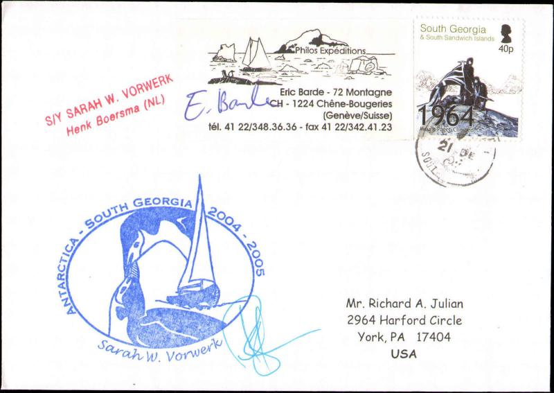 2005 SOUTH GEORGIA ANTARCTIC CACHET + EXPEDITION LABEL + SIGNED
