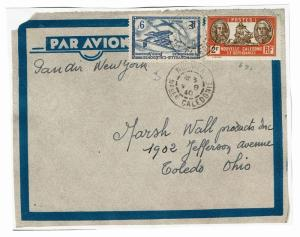 New Caledonia 1940 Airmail Cover to USA, front only, see note - Lot 101517
