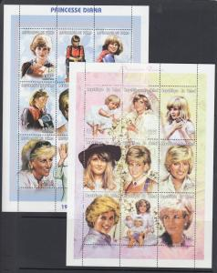 Chad Sc 713-714 MNH. 1997 Princess Diana, 2 sheets of 9, complete set, VF.