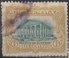 Guatemala 117 (used) 6c Temple of Minerva, bister & grn (1902)
