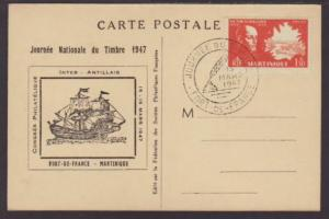 Martinique Philatelic,Ship 1947 Postcard Cover