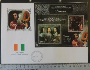 2013 large format FDC art anthony van dyck king charles 1 royalty flags