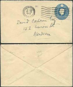 EP78 KGVI 2 1/2d Blue Envelope Stamp 46 Size E Used Aberdeen Cancel