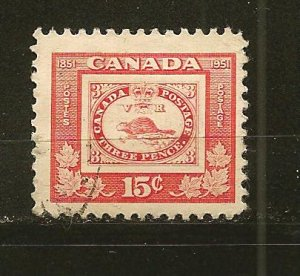 Canada 314 Beaver of 1851 Stamp on Stamp Used