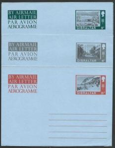 GIBRALTAR QE 2½d,4d, 5d  Views aerogrammes fine unused.....................56959