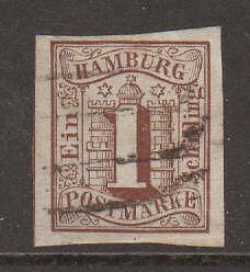 Hamburg Mi 2 used 1859 1s Numeral over Coat of Arms VF