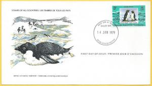 British Antarctic Territory #72 FDC 3p Macaroni Penguin
