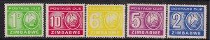 Zimbabwe 1980 QE2 1ct to 10ct Postage Dues Umm SG 23 - 27 ( T89 )