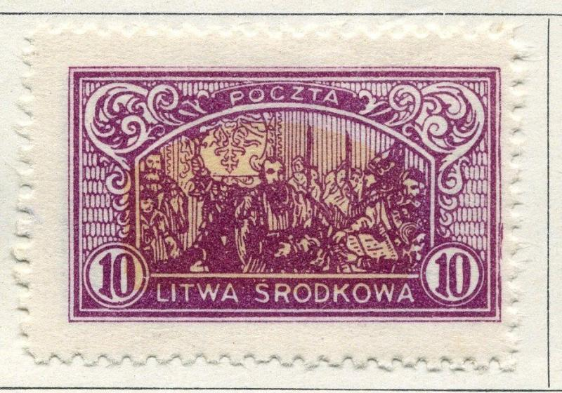 LITHUANIA;  1921 ( Central ) early issue fine Mint hinged 10f. value