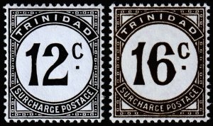 Trinidad & Tobago Scott J14-J15 (1947) Mint NH VF, CV $6.00 M
