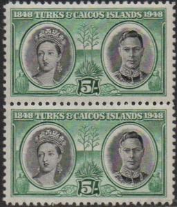 Turks & Caicos Islands 1948 5/- Queen Victoria & King George VI (pair) MNH