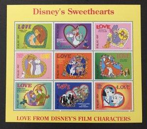 Palau 1996 #393 S/S, Disney Sweethearts, MNH.