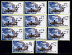 ISRAEL 2020 STAMP IDF HELICOPTER CHOPPER 11 ATM ALL MACHINES LABELS MNH