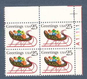 2428 Christmas Sleigh & Presents Plate Block Mint/nh (Free Shipping)