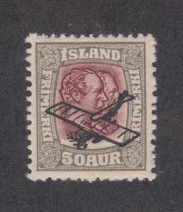 Iceland Sc C2 MLH. 1929 Airplane ovpt on 50a gray & violet Kings, F-VF
