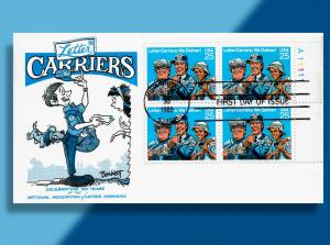 Neither Rain nor Snow nor Tenacious Dog . . Letter Carriers FDC w/ Plate Block