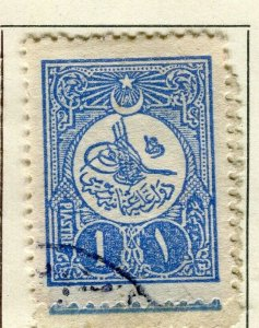 TURKEY; 1908 early classic issue fine used 1Pi. value
