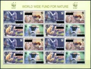 Sierra leone 2008 monkeys wwf klb of 16v overprint MNH