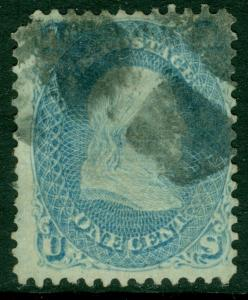 EDW1949SELL : USA 1868 Sc #86a Dull Blue Used Rounded upper left corner Cat $375