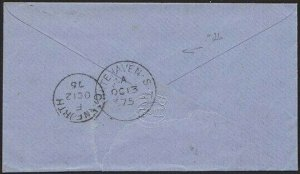 GB 1875 1d red plate 166 on cover  - WHITEHAVEN SORTING TENDER..............2702
