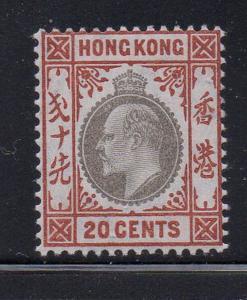 Hong King Sc 97 1904 20c orange brown & black Edward VII stamp mint