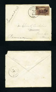 Cover from Ephrata, PA to Denver, PA forwarded to Reamstown, PA dated 5-30-1893