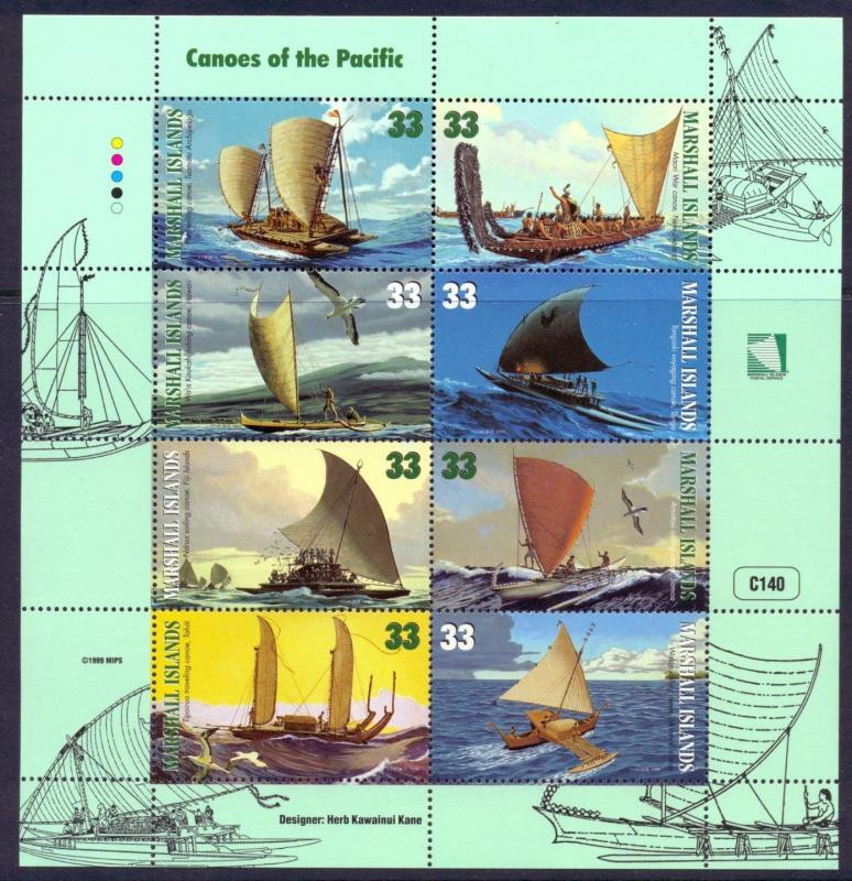 MARSHALL ISLANDS 1999 COMPLETE MINT SHEET OF 8, CANOES OF THE PACIFIC SC #690